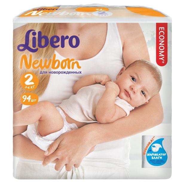 Подгузники Libero Newborn Mini 3-6 кг (94 шт) Размер 2<br>