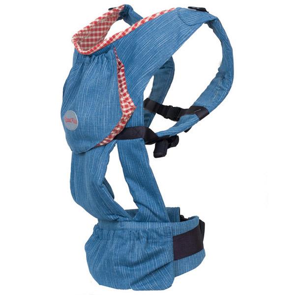 Слинг-рюкзак Чудо-Чадо Бебимобиль с 4 мес до 3 лет Джинсовый с красным<br>