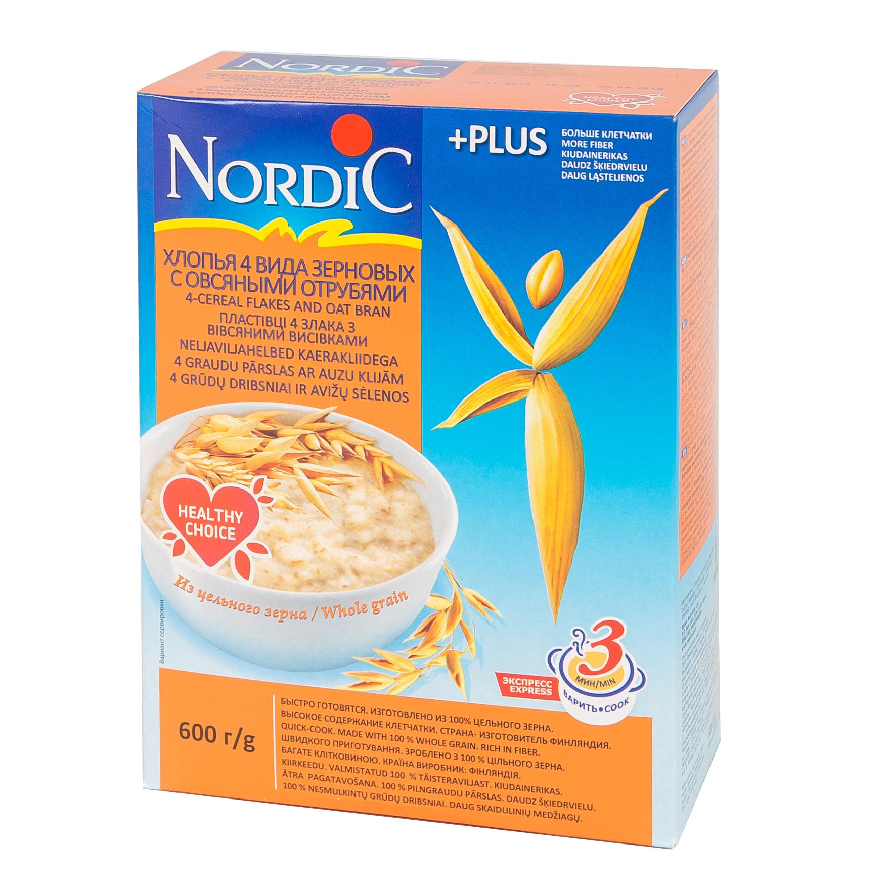 Каша Nordic безмолочная 600 гр 4 злака с отрубями (с 12 мес)<br>