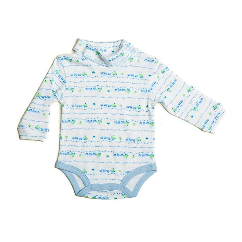 Боди Spasilk Спэсилк с горлышком, длинный рукав (интерлок) для мальчика, голубой 61-67 см (3-6, M)