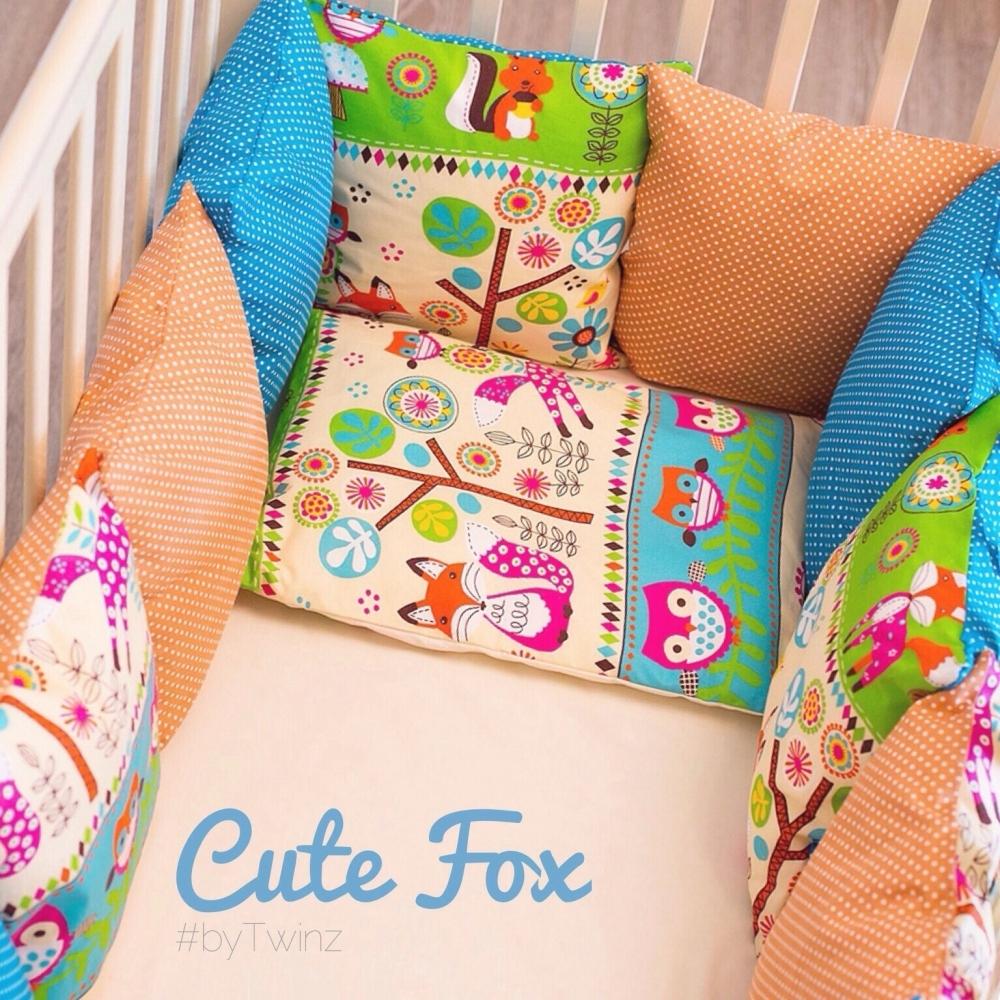 Комплект в кроватку ByTwinz с бортиками-подушками 6 предметов Лисы<br>