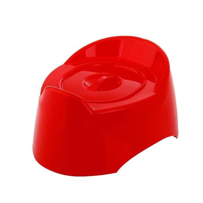 Горшок детский Пластик Малышок с крышкой Цвет - красный 1527М<br>