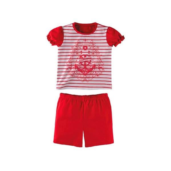 Комплект для девочки Наша Мама (футболка, шорты) рост 98 белый с красным<br>