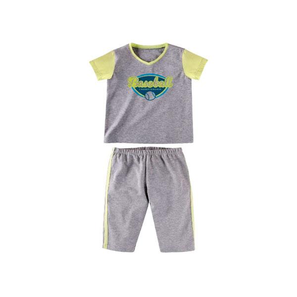Комплект для мальчика Наша Мама (футболка, бриджи) рост 92 серый меланж с салатовым<br>