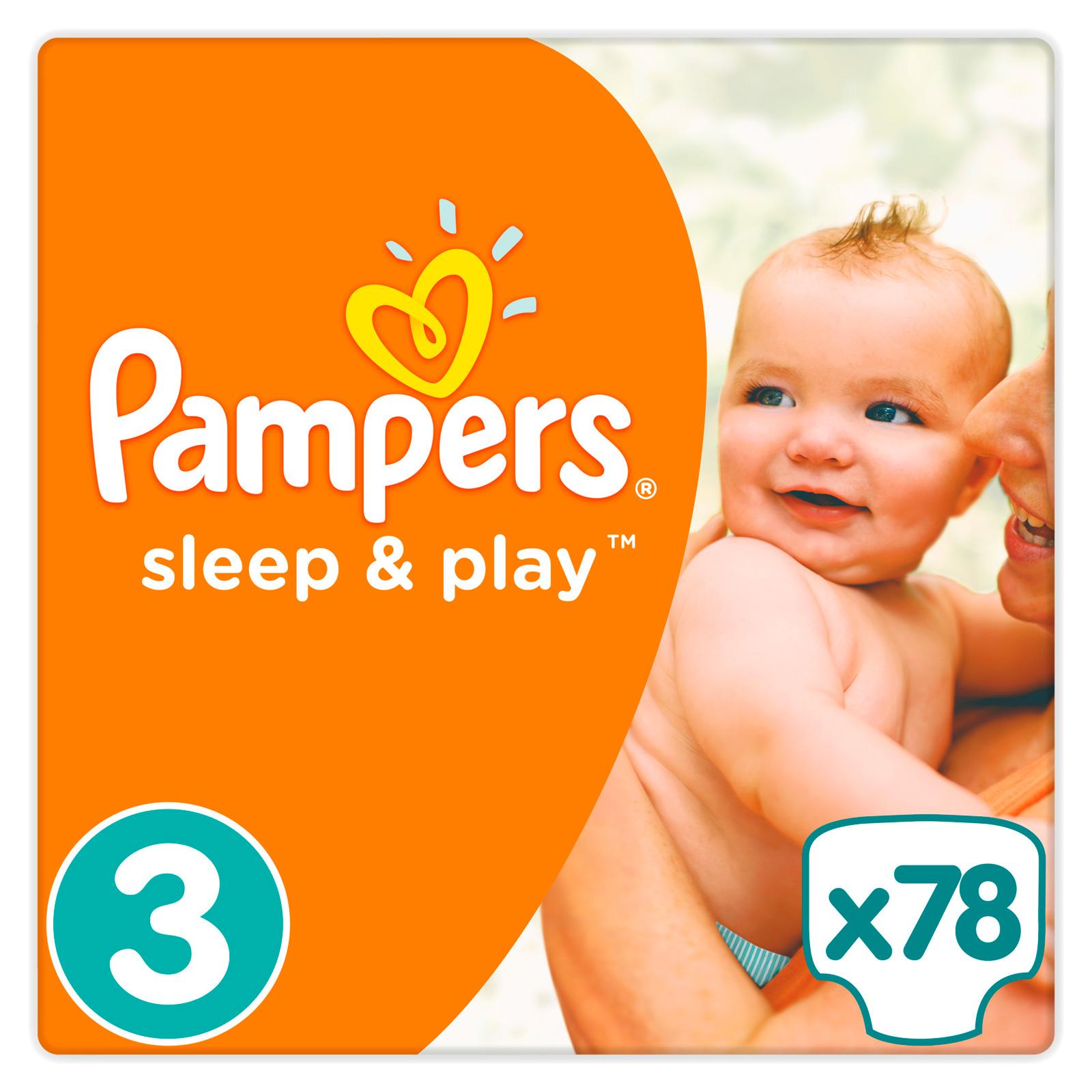 Подгузники Pampers Sleep&amp;amp;Play Midi 5-9 кг (78 шт) Размер 3<br>