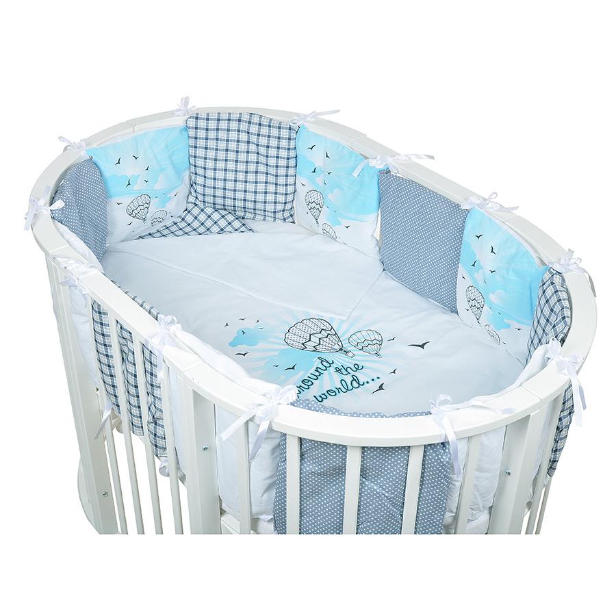 Комплект в овальную кроватку Bambola универсальный 29 предмета Вокруг Света Голубой<br>