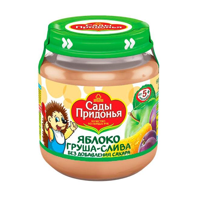 Пюре Сады Придонья фруктовое 120 гр Яблоко груша слива (с 5 мес)<br>