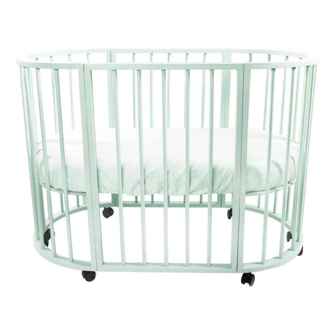 Кроватка-трансформер Valle Domenica 9 в 1 овальная Белый<br>