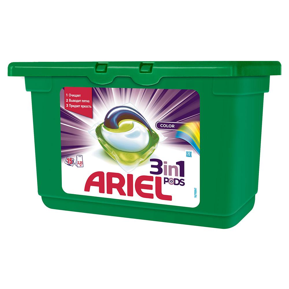 Капсулы для стирки Ariel 3 в 1 PODS Color 15 х 28,8 гр<br>