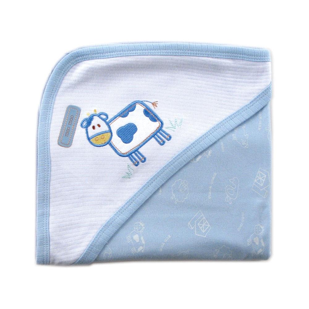 Пелёнка Luvable Friends Лавбл Фрэндс трикотажная с капюшоном (76*101 см) Голубая