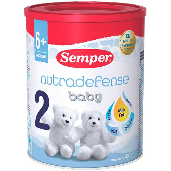 Заменитель Semper Nutradefense Baby 400 гр №2 (с 6 до 12 мес) заменитель semper nutradefense 2 с