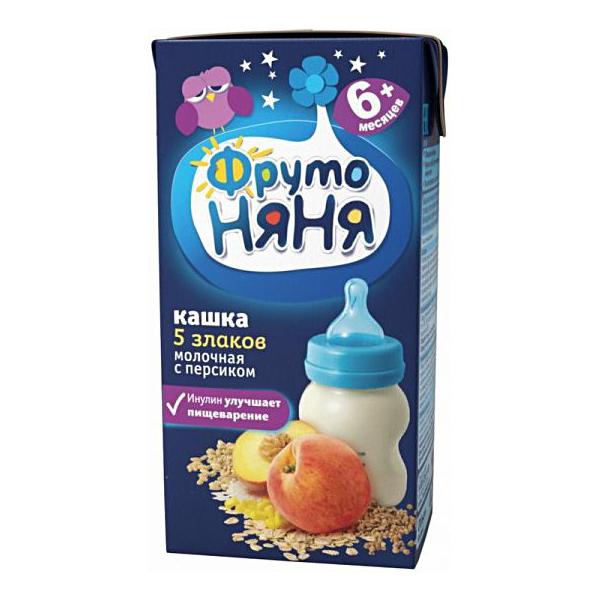 Каша Фрутоняня молочная 200 гр (готовая к употреблению) 5 злаков с персиком (с 6 мес)<br>