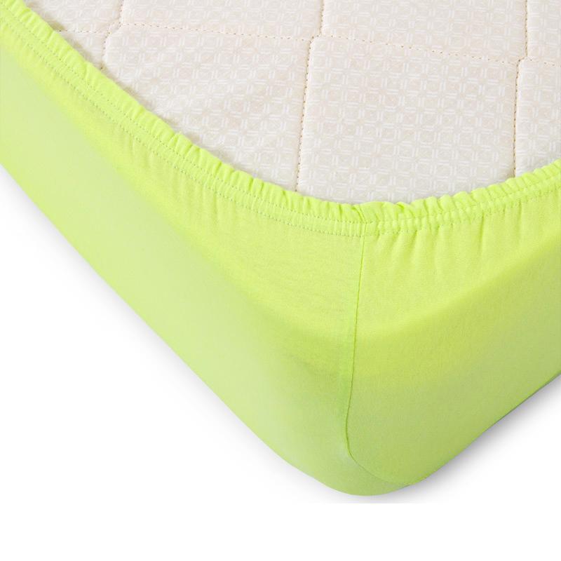 Простыня трикотажная на резинке Oltex Jersey 90х200х20 №2067 Светло-зеленая<br>