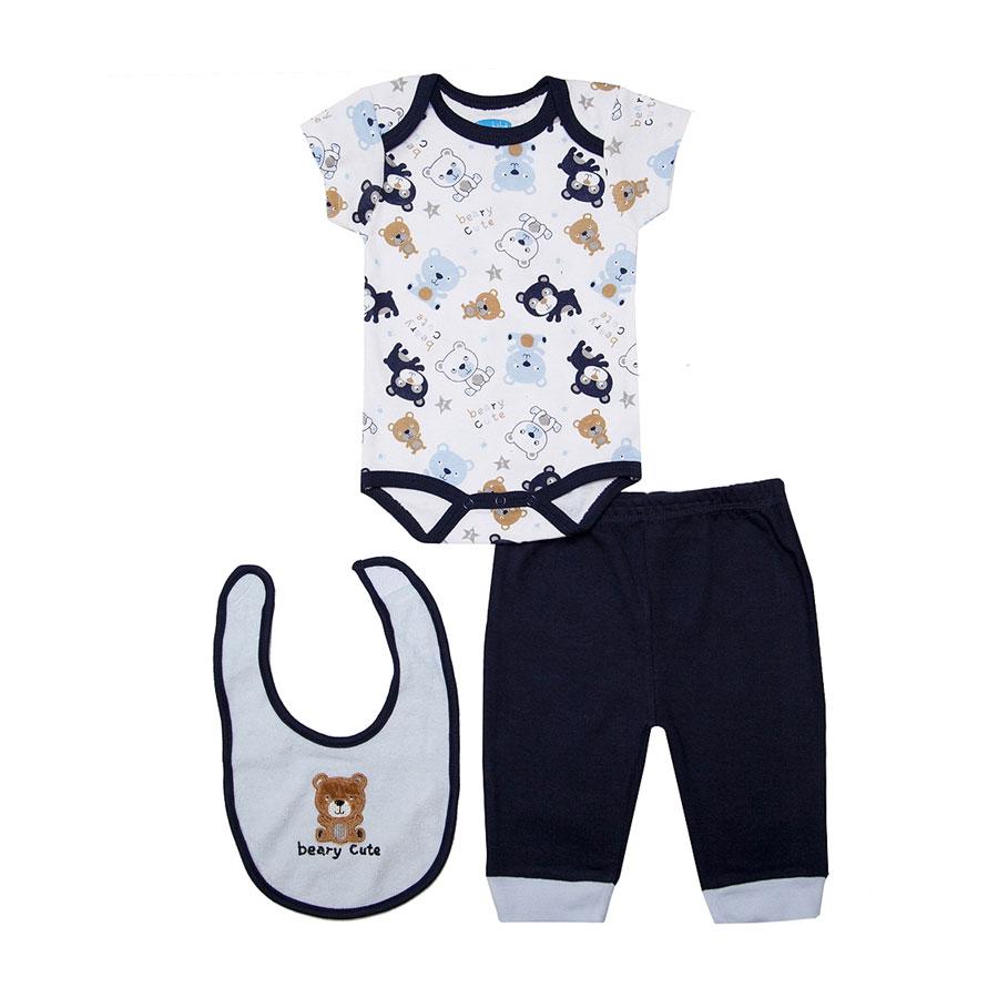 Комплект Bon Bebe Бон Бебе для мальчика: боди короткий,штанишки,нагрудник, цвет светло-голубой,синий 3-6 мес. (61-67 см)