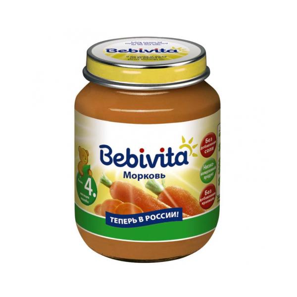 Пюре Bebivita овощное 100 гр Морковь (с 4 мес)<br>