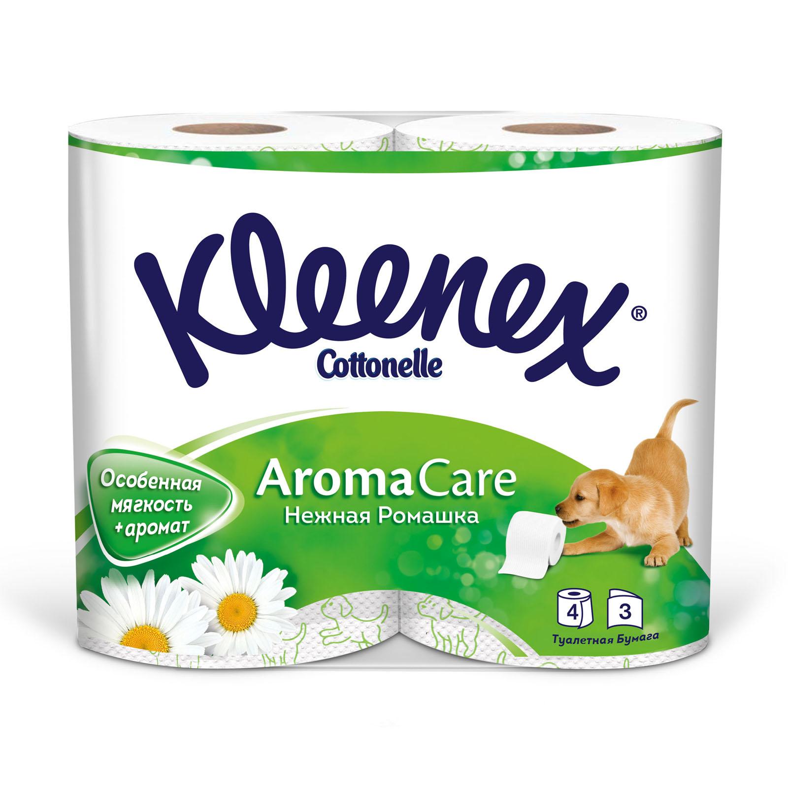 Туалетная бумага Kleenex ромашка (3 слоя) 4 шт<br>