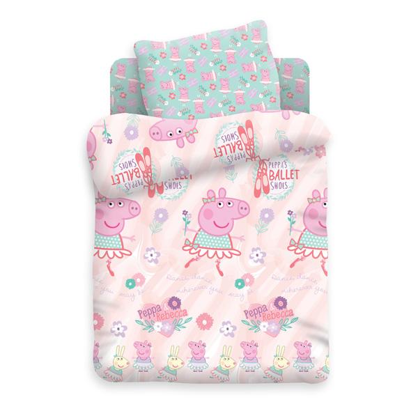 Комплект постельно белья детский Свинка Пеппа Пеппа балерина 8804+8805 вид 1<br>