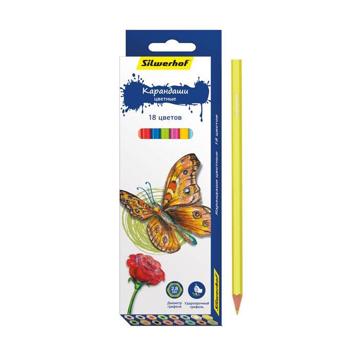 Карандаши цветные Silwerhof Бабочки 18 цветов<br>