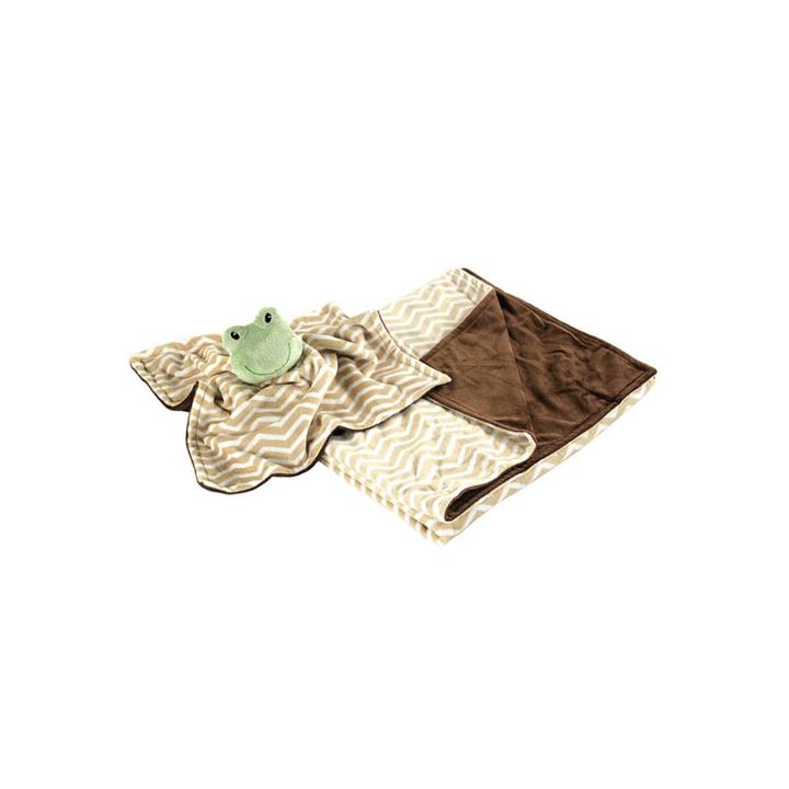 Комплект Hudson Baby плюшевый плед и мягкая игрушка, 2 пр., цвет коричневый от 0 мес. (76х101 см)