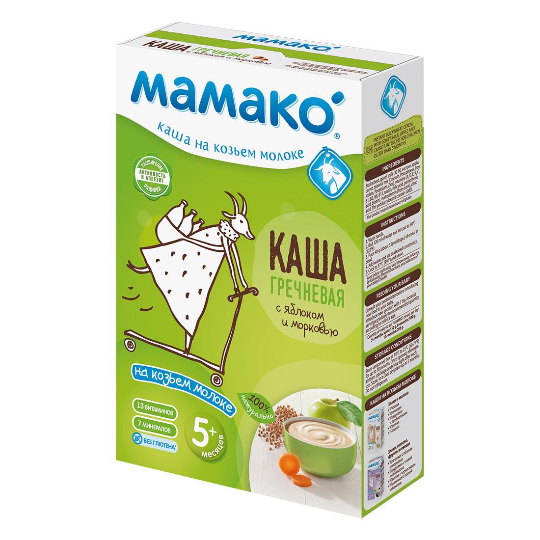Каша Mamako на козьем молоке 200 гр Гречка c яблоком и морковью (с 4 мес)<br>