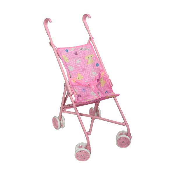 Коляска трость Melobo для кукол Розовая-малиновая