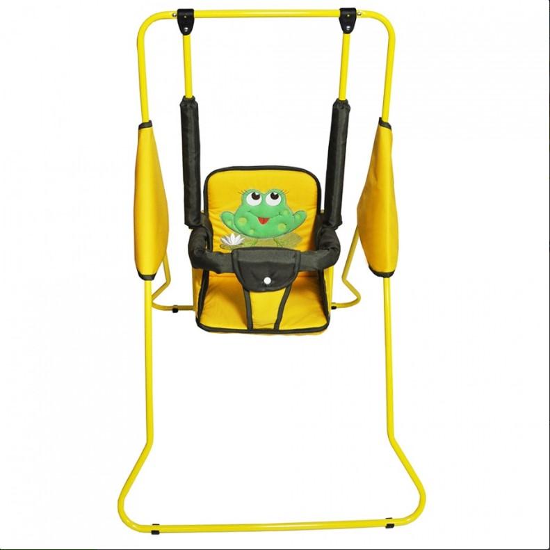 Качели Лео напольные Крепыш Лягушка Желтая с зеленым<br>