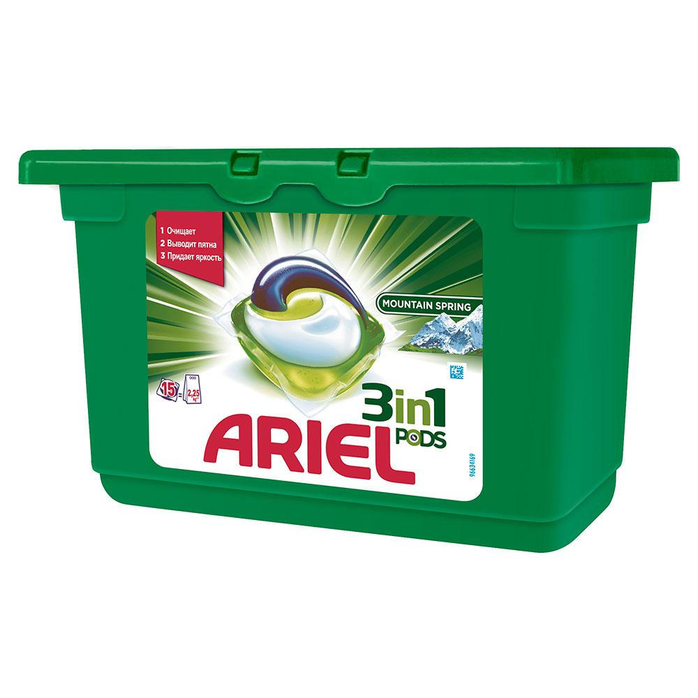 Капсулы для стирки Ariel 3 в 1 PODS Горный родник 15 X 28,8г<br>