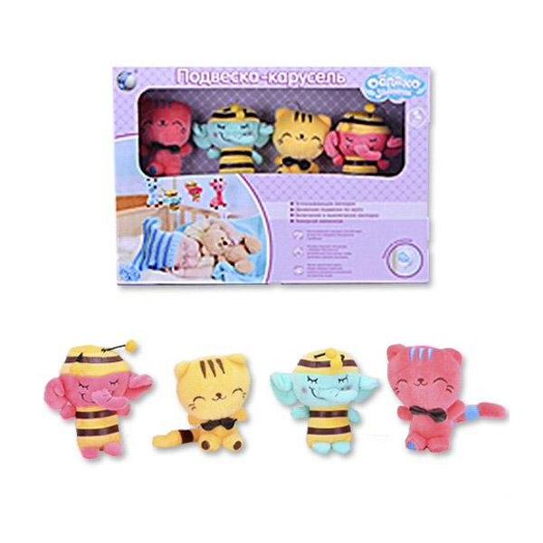 Мобиль Облако заботы музыкальный с мягкими игрушками Слоник и Котёнок<br>