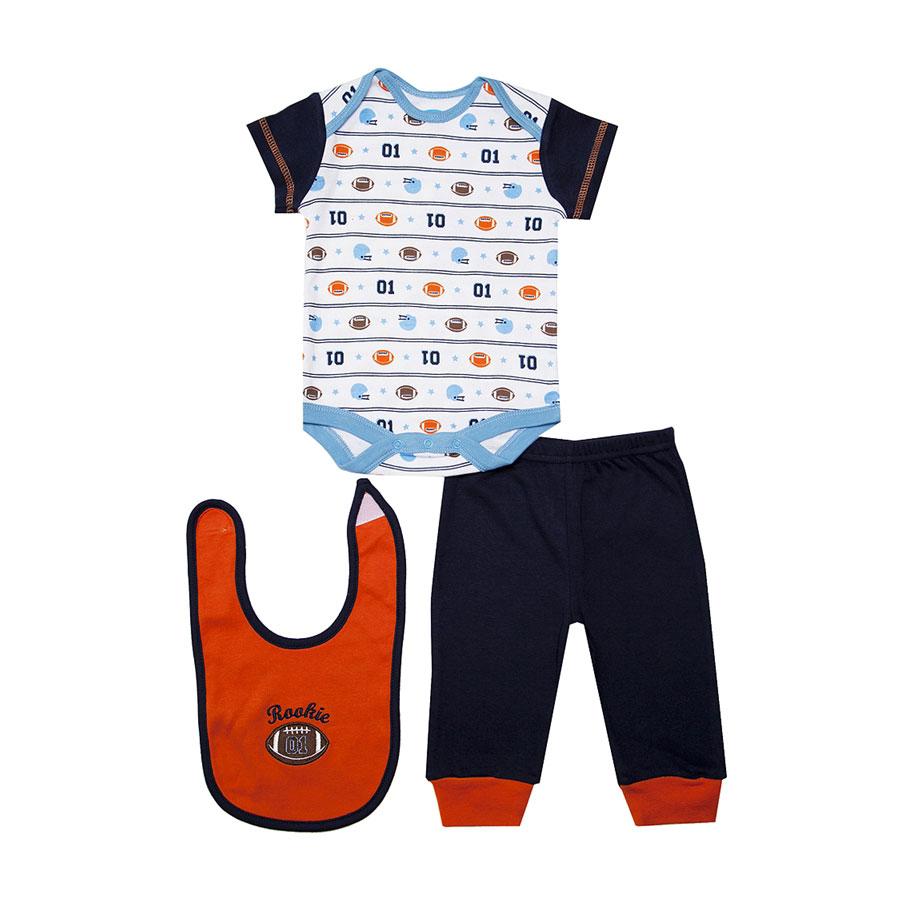 Комплект Bon Bebe Бон Бебе для мальчика: боди короткий,штанишки,нагрудник, цвет оранжевый 6-9 мес. (67-72 см)