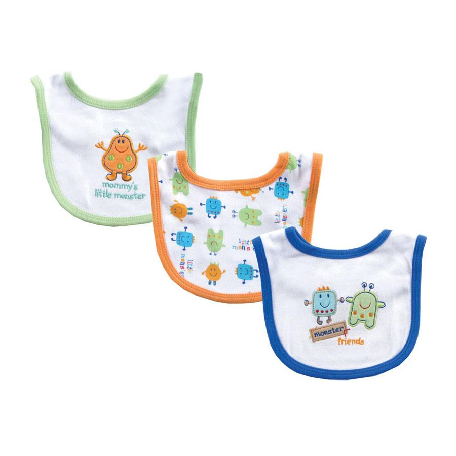 Комплект Hudson Baby Нагрудники Маленький монстр, 3 шт,, цвет зелёный-оранжевый-синий от 0 мес. (13х18 см)