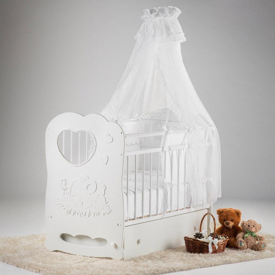 Кроватка Островок Уюта Слоненок маятник поперечный с ящиком Белая<br>