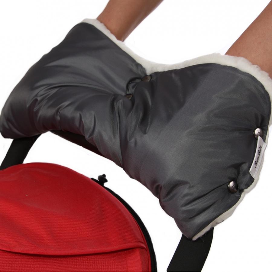 Муфта Bambola для коляски шерстяной мех плащевка кнопки Лайт Серый<br>