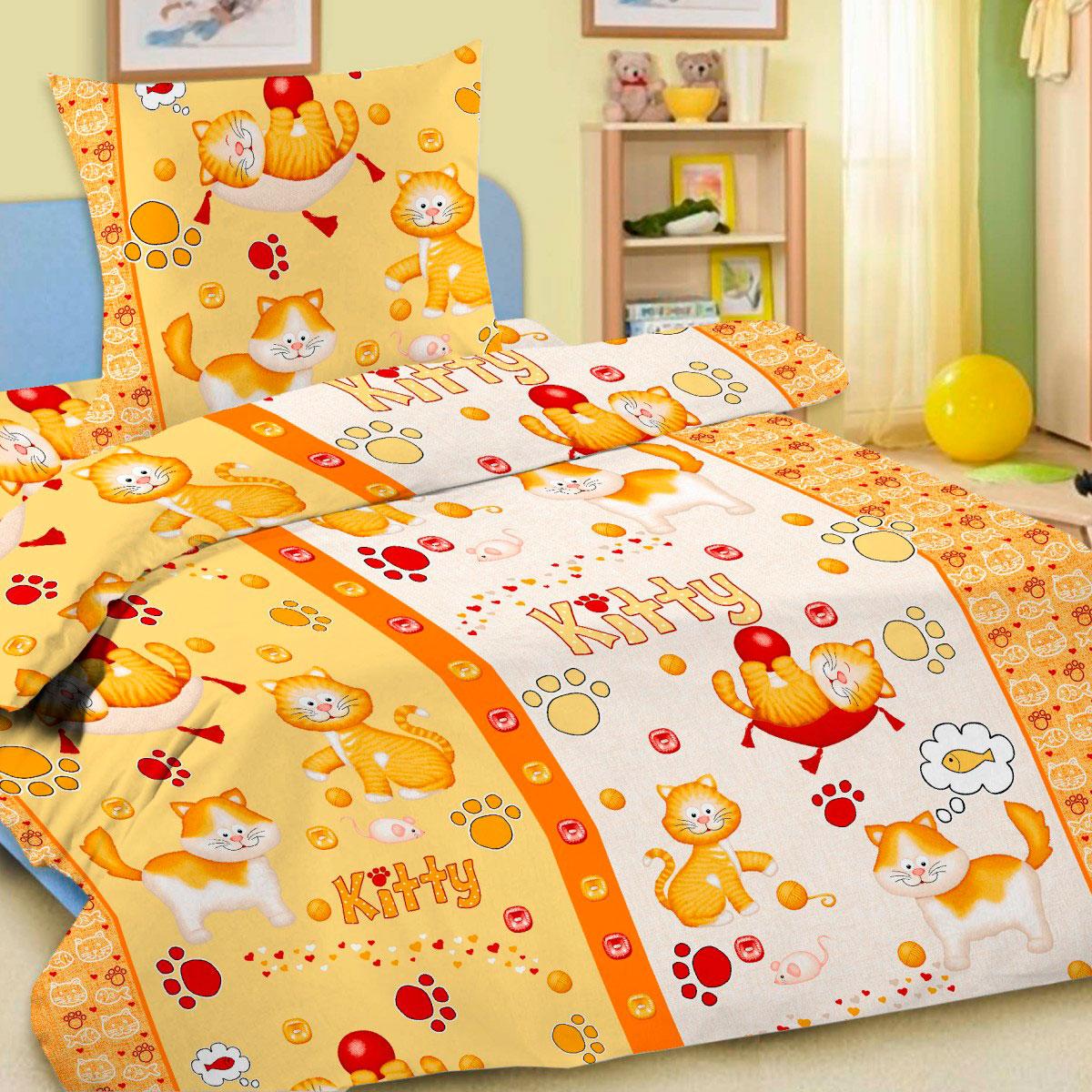 Комплект постельного белья детский Letto с наволочкой 50х70 Китти Желтый