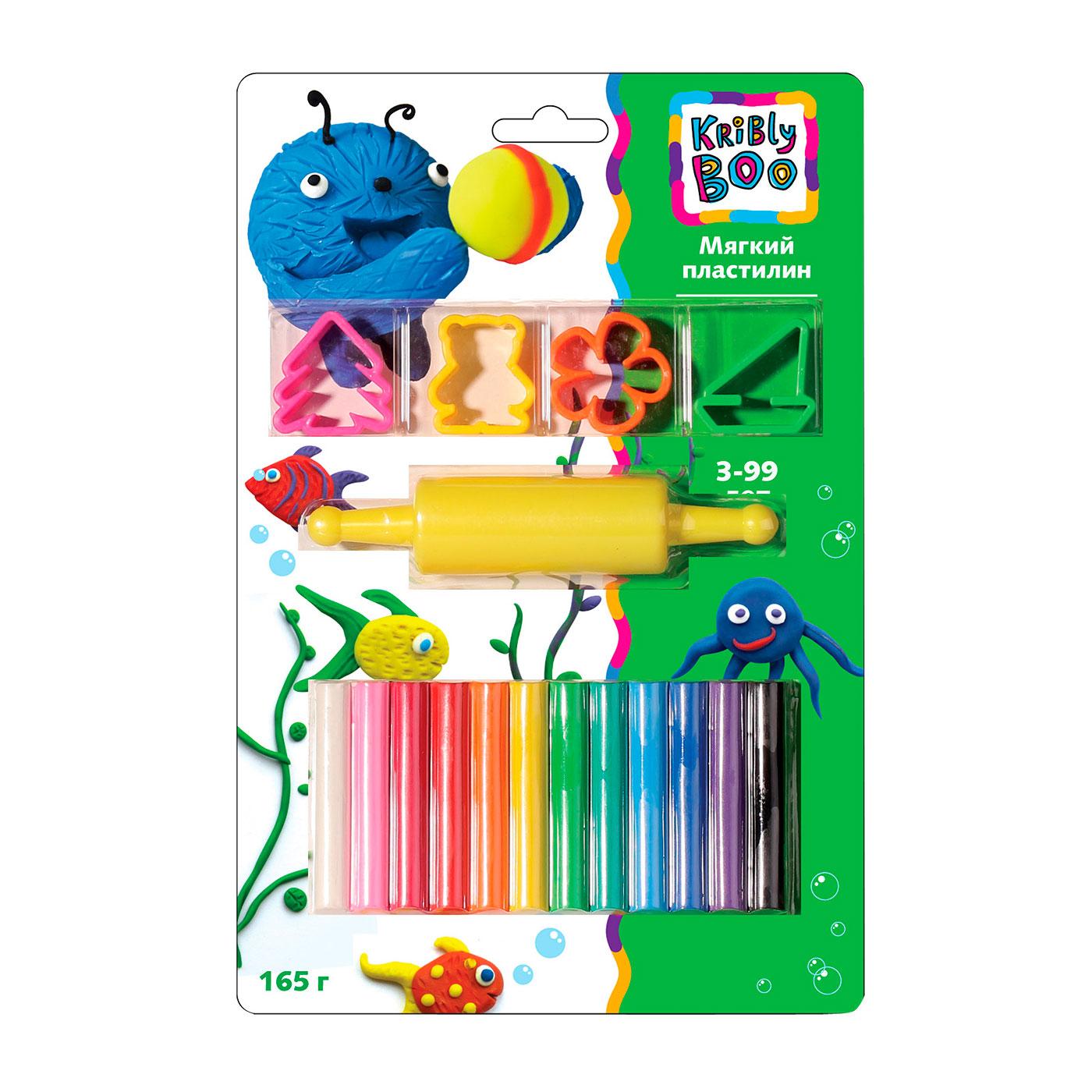 Пластилин Kribly Boo Мягкий с формочками и роликом 165 грамм 12 штук
