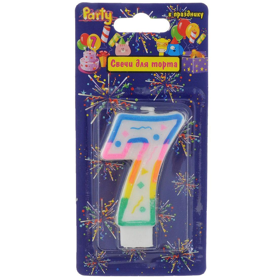 Свеча-Цифра ACTION!  для торта 7 разноцветная 7см<br>