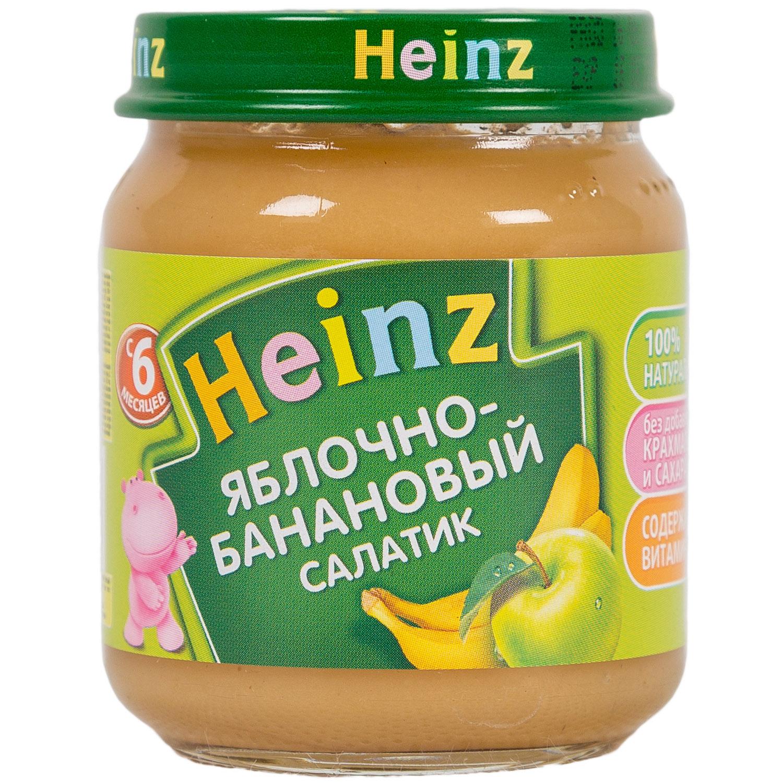 Пюре Heinz фруктовое 120 гр Яблоко-банановый салатик (с 6 мес)<br>