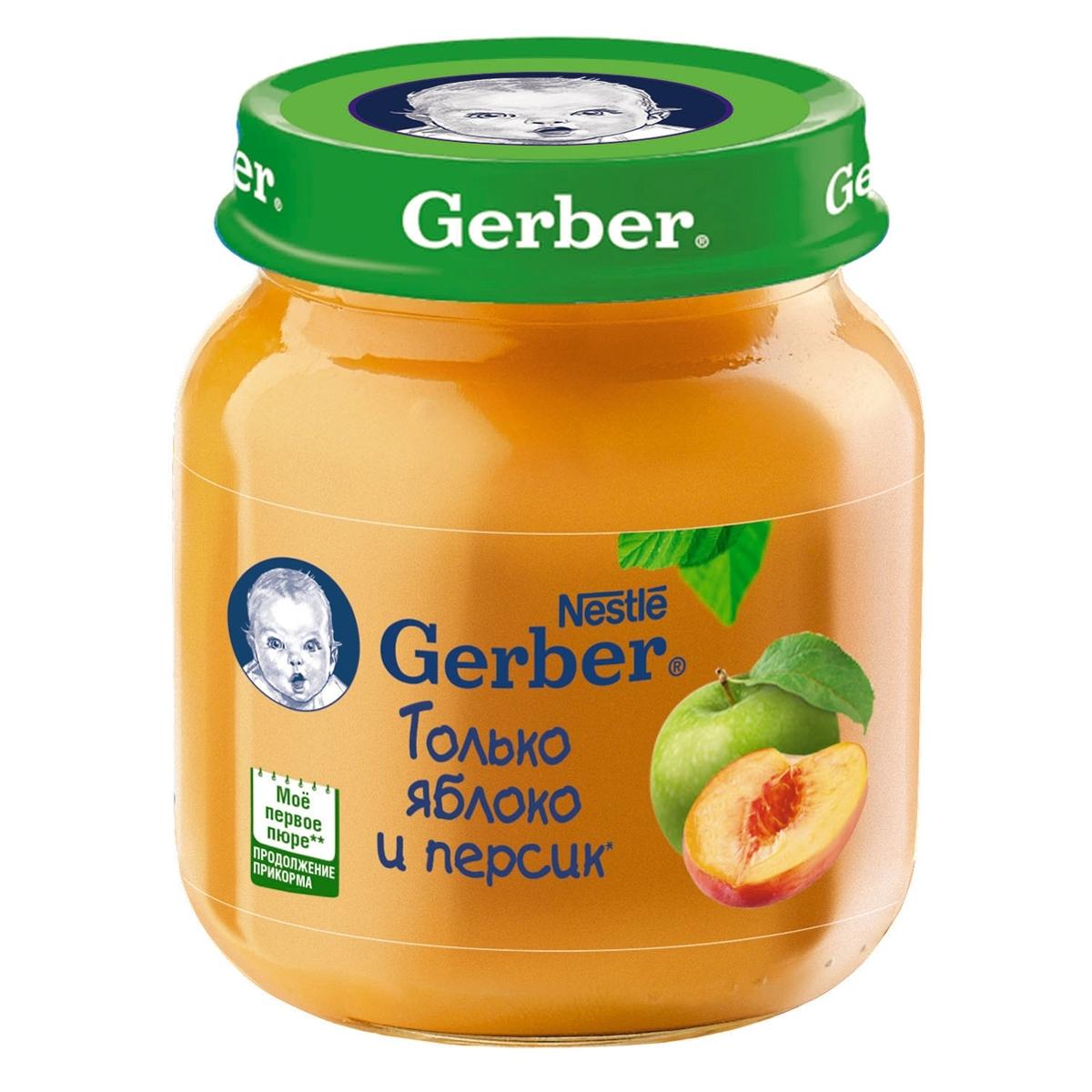 Пюре Gerber фруктовое 130 гр Яблоко и персик  (1 ступень)<br>
