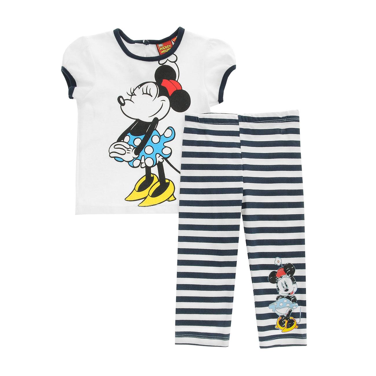 Комплект Дисней Минни футболка с коротким рукавом, штанишки в полоску, для девочки, белый 12 мес.
