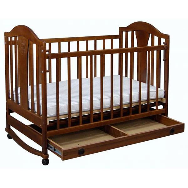 Кроватка  Наполеон NEW колесо качалка Орех