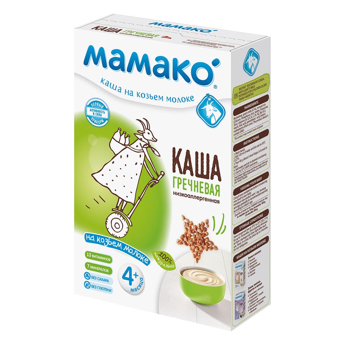 Каша Mamako на козьем молоке 200 гр Гречневая  (с 4 мес)<br>