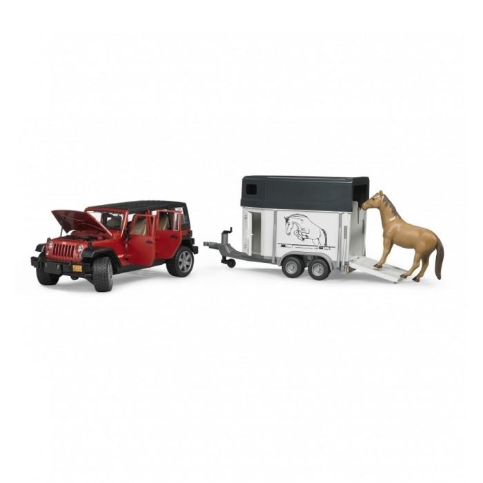 Внедорожник Bruder Jeep Wrangler С прицепом-коневозкой<br>