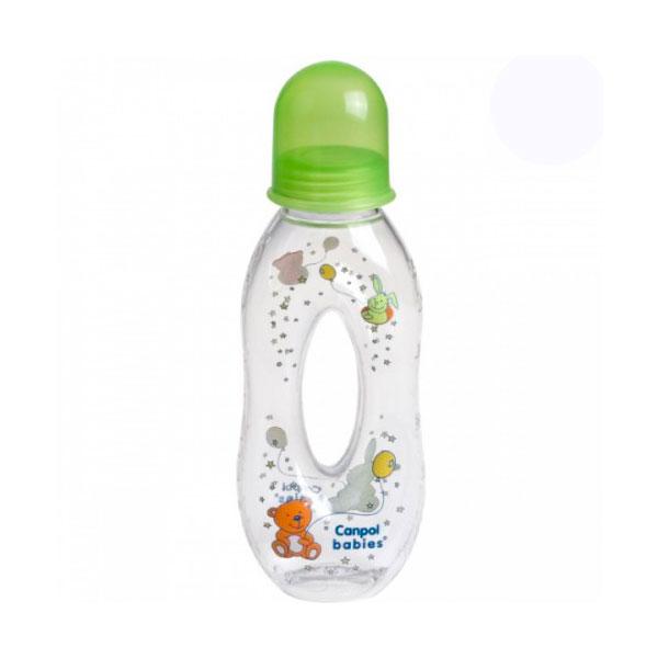 Бутылочка Canpol Babies с силиконовой соской с отверстием зеленая (c 6 мес)<br>
