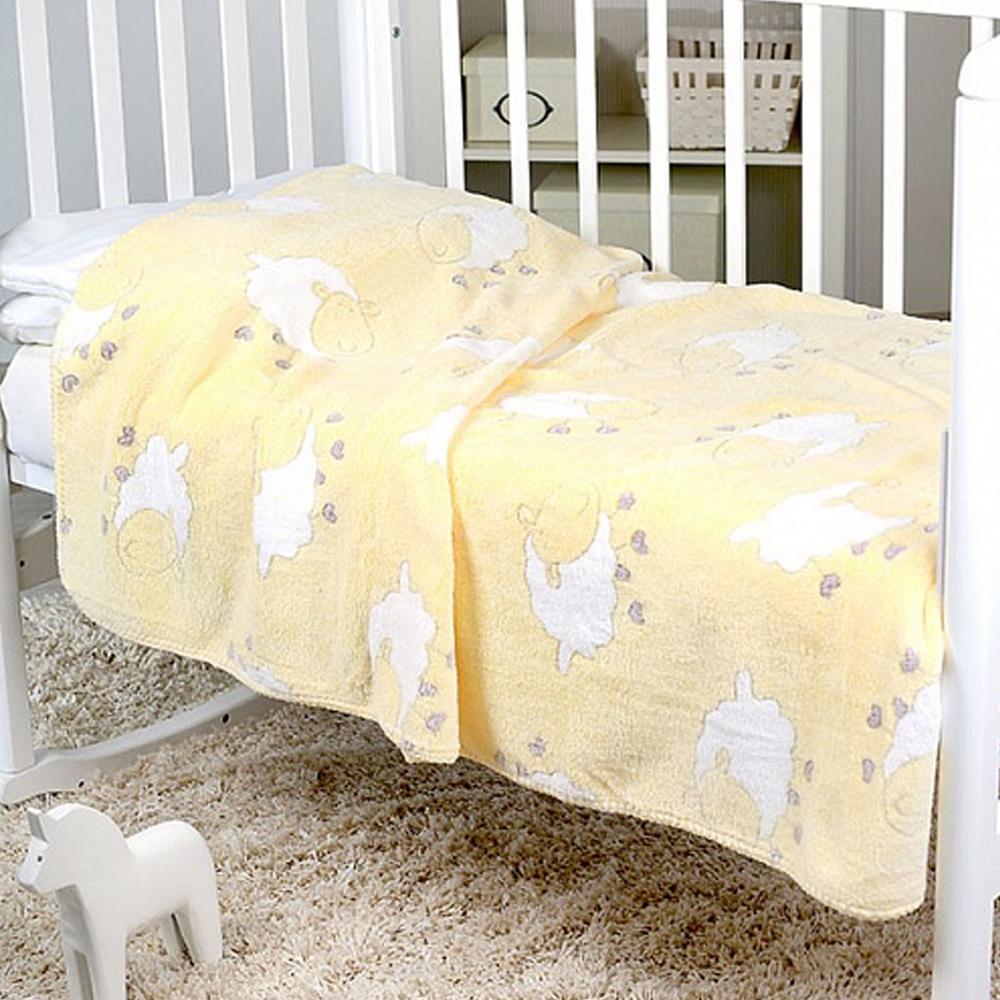 Плед-покрывало Baby Nice 100х150 Velsoft двухстороннее оверлок В ассортименте (Разноцветные мишки на желтом, Барашки на желтом)<br>