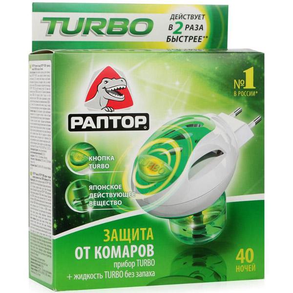 Комплект Раптор Прибор и Жидкость от комаров Turbo (40 ночей)