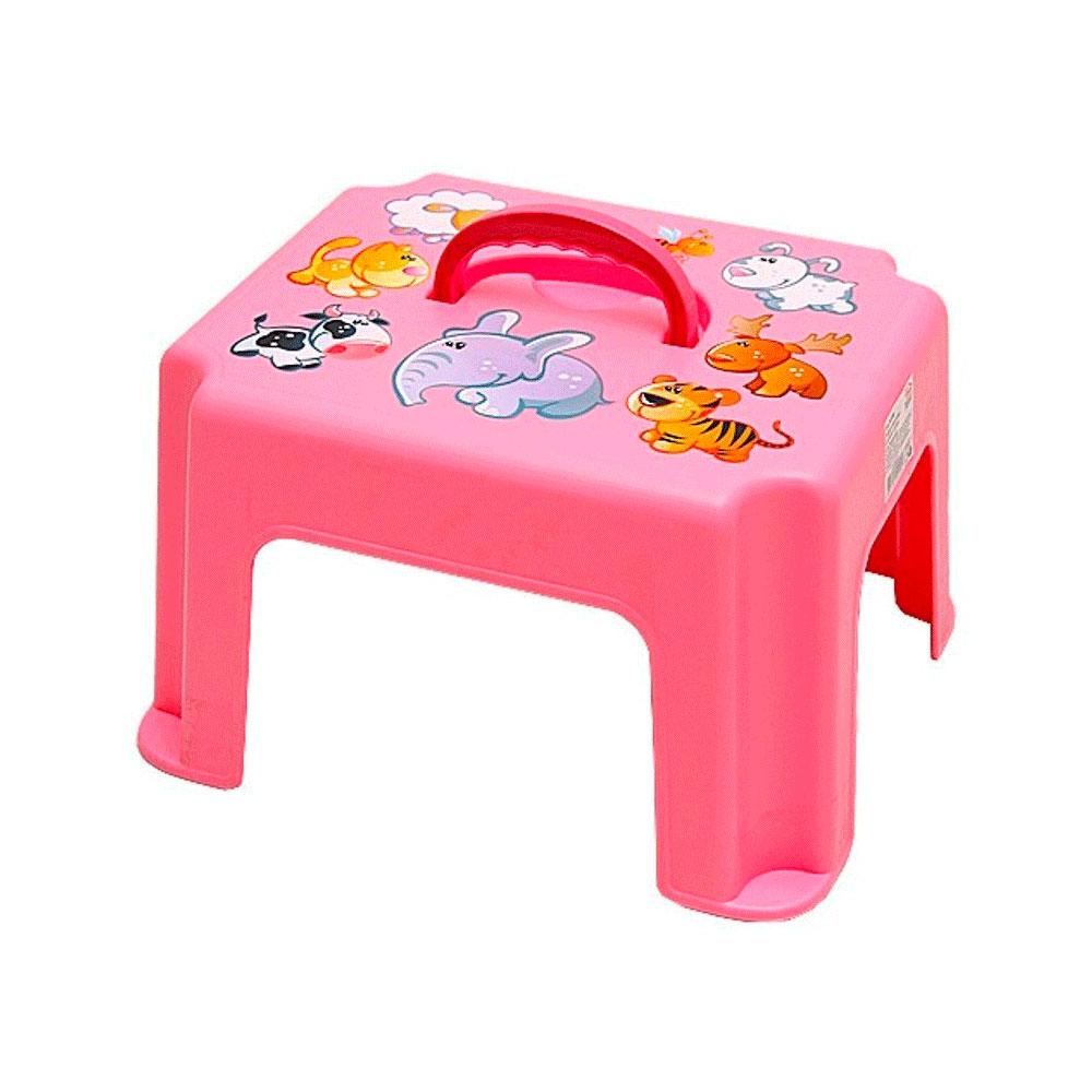 Табурет-подставка М Пластика с ручкой цвет - Розовый<br>