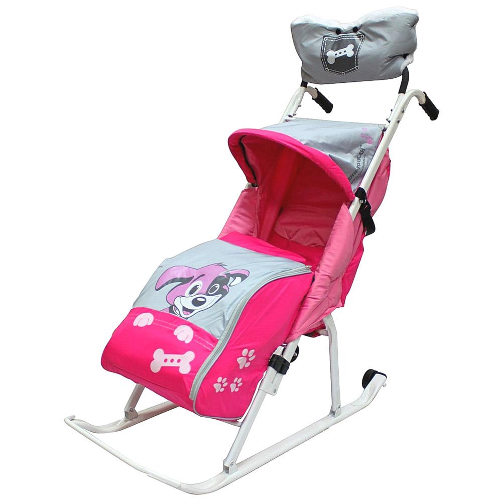 Санки-коляска RT Комфорт Люкс 11 Любопытный щенок с колесиками и муфтой Розовые<br>