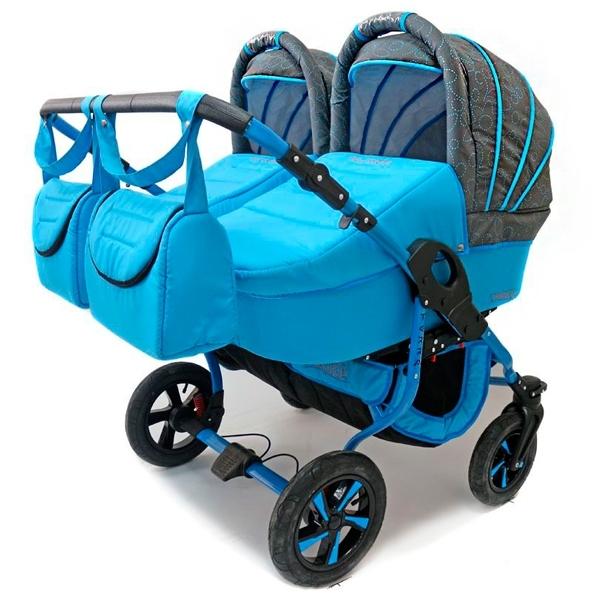 Коляска Polmobil Близнецы Terra 2 в 1 Голубая с серым<br>