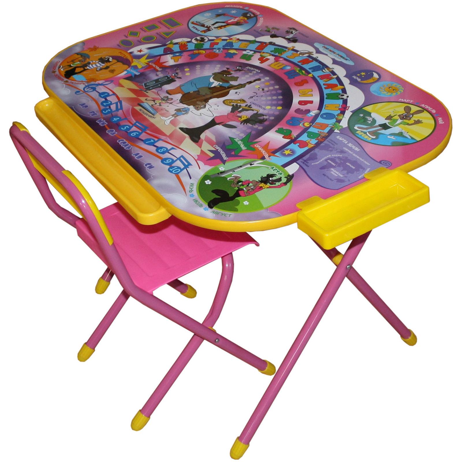 Набор мебели стол и стул Дэми Дошкольник Ну погоди Розовый<br>