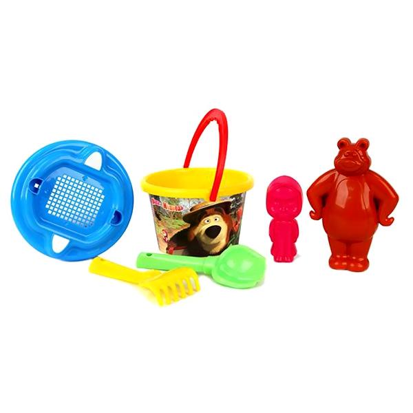 Песочный набор Маша и медведь Ведро, ситечко, лопатка, грабельки, формочка Маша, формочка Медведь (в сетке)<br>