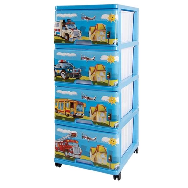 Комод для игрушек Dunya Декор Машинки Синий<br>